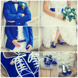 Wedding couple with bluish theme