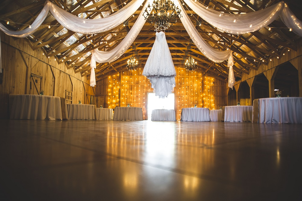 Wedding reception in a barn setup