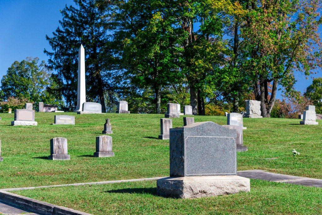 Gray marble gravestone