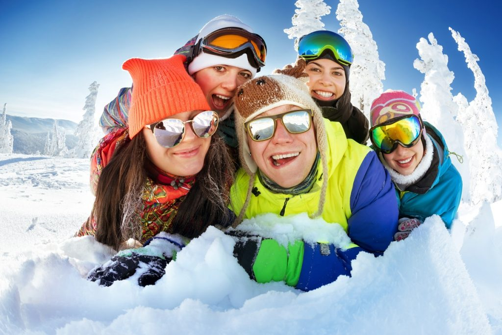 Skiiers wearing sunglasses
