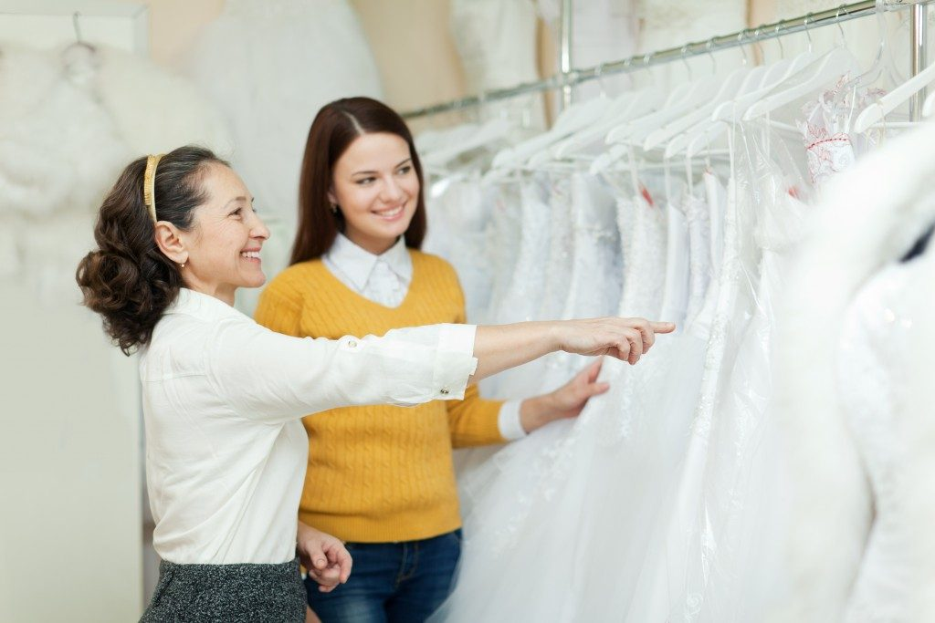 Woman shopping for a gown